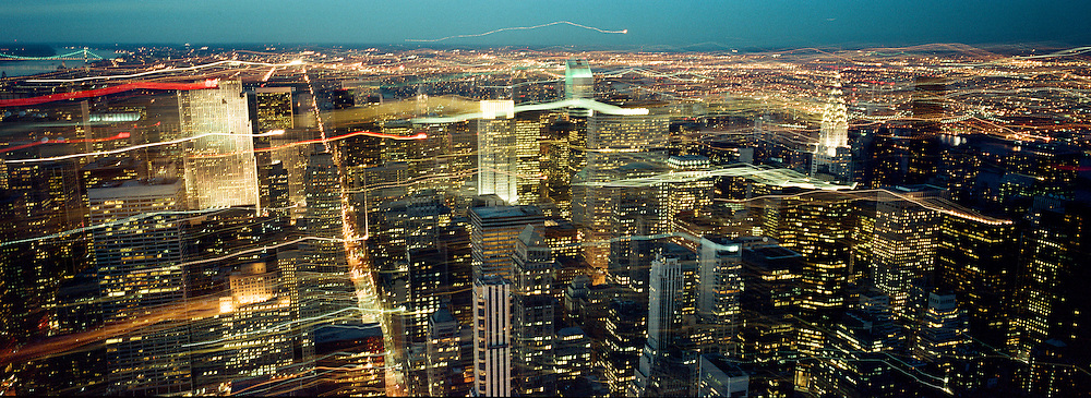A Panoramic view at night showing New York, USA. 23rd July 2011. Photo Tim Clayton