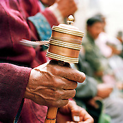 Close up of spinning prayer wheel, Ladakh, India
