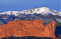 America's Mountain.  14,110 ft. Pikes Peak and North Gateway Rock .  Viewed from Garden of the Gods.  Colorado Springs, Colorado.