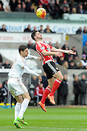Southampton's Shane Long (r) wins the ball from Swansea's Federico Fernandez. Barclays Premier league match, Swansea city v Southampton at the Liberty Stadium in Swansea, South Wales on Saturday 13th February 2016.<br /> pic by  Carl Robertson, Andrew Orchard sports photography.