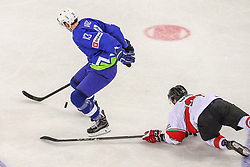 Miha Verlic of Slovenia during Ice Hockey match between National Teams of Hungary and Slovenia in Round #3 of 2018 IIHF Ice Hockey World Championship Division I Group A, on April 25, 2018 in Arena Laszla Pappa, Budapest, Hungary. Photo by David Balogh / Sportida