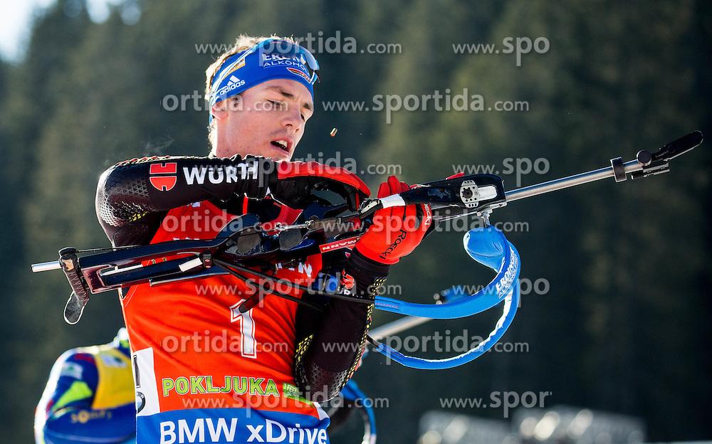 Simon Schempp (GER) during Men 12,5 km Pursuit at day 3 of IBU Biathlon World Cup 2015/16 Pokljuka, on December 19, 2015 in Rudno polje, Pokljuka, Slovenia. Photo by Vid Ponikvar / Sportida