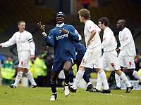 Photo: Chris Ratcliffe.<br />Southend United v Brentford. Coca Cola League 1. 14/01/2006.<br />Efe Sodje celebrates after opening the scoring for Southend.