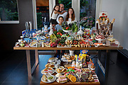 Rodenrijs, Netherlands. Family portrait of the Engizek family with one week's worth of food in September. The Hungry Planet project.