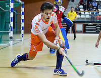 ALMERE - Zaalhockey - Oefenwedstrijd tussen de mannen van Nederland en Zweden. Lars Balk. COPYRIGHT KOEN SUYK