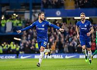 Football - 2018 / 2019 Premier League - Chelsea vs. Brighton & Hove Albion<br /> <br /> Eden Hazard (Chelsea FC)  celebrates after scoring at Stamford Bridge <br /> <br /> COLORSPORT/DANIEL BEARHAM