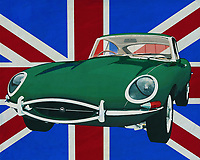 The 1960 Jaguar E-Type is an icon of class and sportiness from the 1960s. A Jaguar is a symbol of class, style and British phlegm. In this painting it stands in front of the Union jacket, that's the name of the British flag.<br />