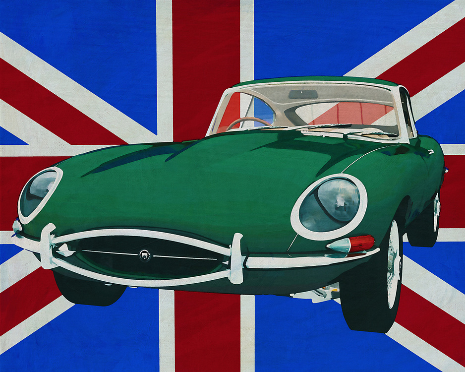The 1960 Jaguar E-Type is an icon of class and sportiness from the 1960s. A Jaguar is a symbol of class, style and British phlegm. In this painting it stands in front of the Union jacket, that's the name of the British flag.<br /> <br /> This painting of the 1960 Jaguar E-Type in front of the British flag can be purchased in various sizes and printed on canvas as well as wood and metal. You can also have the painting finished with an acrylic plate over it which gives more depth.<br /> <br /> -<br /> BUY THIS PRINT AT<br /> <br /> FINE ART AMERICA<br /> ENGLISH<br /> https://janke.pixels.com/featured/jaguar-e-type-1960-in-front-of-the-union-jack-jan-keteleer.html<br /> <br /> WADM / OH MY PRINTS<br /> DUTCH / FRENCH / GERMAN<br /> https://www.werkaandemuur.nl/nl/werk/Jaguar-E-Type-1960-voor-de-Union-Jack/659822/134?mediumId=1&size=70x55