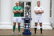 Rory Best, the Ireland captain and Dylan Hartley, the England captain pose with the Six Nations Trophy.RBS Six Nations 2017 media launch at the Hurlingham Club, Ranelagh Gardens in London on Wednesday 25th January 2017.<br /> pic by John Patrick Fletcher, Andrew Orchard sports photography.