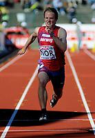 Friidrett<br /> 19. juni 2010<br /> Fana Stadion , Bergen , Norway<br /> European team championships<br /> 400 m hurdles<br /> Andreas Totsåsl , NOR<br /> Foto : Astrid M. Nordhaug