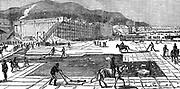 Ice gathering on the Hudson River near New York. Horse-drawn cutters used to cut blocks. In background are insulated warehouses for storing ice for summer use. From 'The Science Record' New York 1875. Engraving