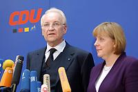 17 JAN 2002, BERLIN/GERMANY:<br /> Edmund Stoiber, CSU, Ministerpraesident Bayern und CDU/CSU Spitzenkandidat, und Angela Merkel, CDU Bundesvorsitzende, waehrend einem Pressestatement zu einer vorangegangenen Besprechung ueber die Organisation des Bundestagswahlkampfes, CDU Bundesgeschaeftsstelle<br /> IMAGE: 20020117-01-015<br /> KEYWORDS: Ministerpräsident, Mikrofon, microphone, Pressekonferenz