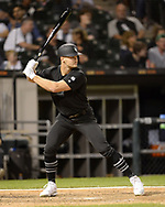 CHICAGO - AUGUST 23:  Adam Engel #15 of the Chicago White Sox bats against the Texas Rangers during Players Weekend on August 23, 2019 at Guaranteed Rate Field in Chicago, Illinois.  (Photo by Ron Vesely)  Subject:   Adam Engel