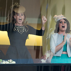 Mcc0047605.DT News.Royal Ascot Day 3.Pic Shows Princess Beatrice and Eugenie watching the horse owned by HM The Queen  Estimate win the Gold Cup