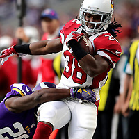 MINNEAPOLIS, MN - NOVEMBER 20: Andre Ellington #38 of the Arizona Cardinals breaks a tackle by Trae Waynes #26 of the Minnesota Vikings in the first quarter of the game on November 20, 2016 at US Bank Stadium in Minneapolis, Minnesota. (Photo by Adam Bettcher/Getty Images)