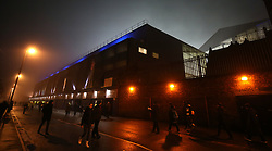 Fog envelopes Goodison Park viewed from Gladys Street before the game between Everton and Swansea City