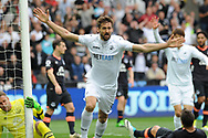 Fernando Llorente of Swansea City celebrates after he scores his first half goal against Everton.<br /> Premier league match, Swansea city v Everton at the Liberty Stadium in Swansea, South Wales on Saturday 6th May 2017.<br /> pic by  Phil Rees, Andrew Orchard sports photography.
