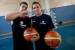 Saso Ozbolt and Jaka Lakovic during media day at training camp of Slovenian National Basketball team for Eurobasket Lithuania 2011, on July 19, 2011, in Arena Ljudski vrt, Ptuj, Slovenia.  (Photo by Vid Ponikvar / Sportida)