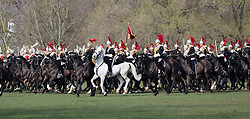 © Licensed to London News Pictures. 16/03/2017. LONDON, UK.  Major General Ben Bathurst carries out the Major General's Inspection of the Household Cavalry Mounted Regiment in Hyde Park in London this morning. The inspection precedes state ceremonial events including the State Opening of Parliament and the Queen's Birthday Parade: Trooping the Colour.  Photo credit: Vickie Flores/LNP