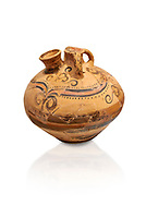 Minoan decorated stirrup jar, Malia Palace 1600-1450 BC; Heraklion Archaeological  Museum, white background. .<br /> <br /> If you prefer to buy from our ALAMY PHOTO LIBRARY  Collection visit : https://www.alamy.com/portfolio/paul-williams-funkystock/minoan-art-artefacts.html . Type -   Heraklion   - into the LOWER SEARCH WITHIN GALLERY box. Refine search by adding background colour, place, museum etc<br /> <br /> Visit our MINOAN ART PHOTO COLLECTIONS for more photos to download  as wall art prints https://funkystock.photoshelter.com/gallery-collection/Ancient-Minoans-Art-Artefacts-Antiquities-Historic-Places-Pictures-Images-of/C0000ricT2SU_M9w