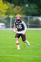 KELOWNA, BC - SEPTEMBER 8:  Nick Ducharme #48 of the Okanagan Sun warms up on the field against the Langley Rams  at the Apple Bowl on September 8, 2019 in Kelowna, Canada. (Photo by Marissa Baecker/Shoot the Breeze)