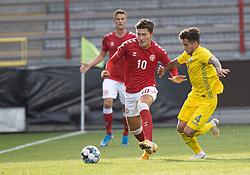 Jonas Wind (Danmark) og Vladyslav Dubinchak (Ukraine) under U21 EM2021 Kvalifikationskampen mellem Danmark og Ukraine den 4. september 2020 på Aalborg Stadion (Foto: Claus Birch).