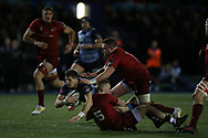 Lloyd Williams of Cardiff Blues is stopped by Stephen Fitzgerald of  Munster as he heads for the try line.  Guinness Pro14 rugby match, Cardiff Blues v Munster Rugby at the Cardiff Arms Park in Cardiff, South Wales on Saturday 17th February 2018.<br /> pic by Andrew Orchard, Andrew Orchard sports photography.