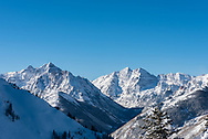 Pyramid Peak and the Maroon Bells as viewed from the top of Aspen Highlands in Aspen, Colorado.