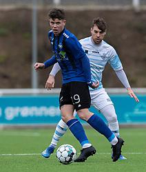 Marius Elvius (HB Køge) under træningskampen mellem FC Helsingør og HB Køge den 22. februar 2020 på Helsingør Ny Stadion (Foto: Claus Birch).