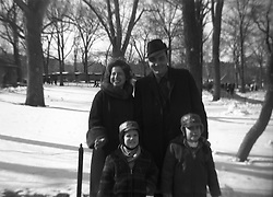Family snapshot in Central Park taken in the winter, 1960