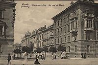 Zagreb (Croatie) : Trenkova ulica = La rue de Trenk. <br /> <br /> ImpresumZagreb : Naklada papirnice A. Brusina, 1906.<br /> Materijalni opis1 razglednica : tisak ; 8,9 x 13,7 cm.<br /> SuradnikMosinger, Rudolf(1865.–1918.)<br /> NakladnikTiskara A. Brusina<br /> Mjesto izdavanjaZagreb<br /> Vrstavizualna građa • razglednice<br /> ZbirkaGrafička zbirka NSK • Zbirka razglednica<br /> Formatimage/jpeg<br /> PredmetZagreb –– Ulica Baruna Franje Trenka<br /> SignaturaRZG-TRENK-2<br /> Obuhvat(vremenski)20. stoljeće<br /> NapomenaRazglednica je putovala 1909. godine. • Uz lijevi rub na poleđini razglednice otisnut je monogram Rudolfa Mosingera.<br /> PravaJavno dobro<br /> Identifikatori000954931<br /> NBN.HRNBN: urn:nbn:hr:238:043948 <br /> <br /> Izvor: Digitalne zbirke Nacionalne i sveučilišne knjižnice u Zagrebu