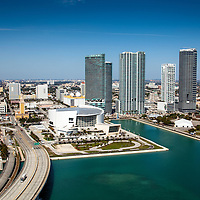 Aerial photo of American Airlines Arena condominiums Marina Blue-900 Biscayne Bay-Ten Museum Park-Marquis.