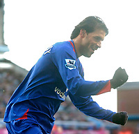 Photo: Glyn Thomas.<br />Aston Villa v Manchester United. The Barclays Premiership.<br />17/12/2005.<br />Manchester United's Ruud van Nistelrooy celebrates after scoring his team's first goal.