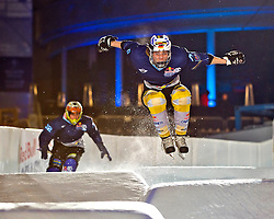 03-02-2012 SKATING: RED BULL CRASHED ICE WORLD CHAMPIONSHIP: VALKENBURG<br /> Fabian Mels GER during a training session<br /> ©2012-FotoHoogendoorn.nl/Peter Schalk