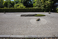 Shido-ji Temple Garden - Shidoji is the 86th temple in the Shikoku Pilgrimage Buddhist trail.  Its garden was originally created during the Muromachi period, the 15th century,  but was heavily damaged by an earthquake and left in ruins for many years.  The garden was commissioned by a local ruler of that time, and was designed to evoke ink wash paintings of Chinese landscapes depicting a river flowing through mountains. After being damaged it fell into disrepair and was neglected for many years. Mirei Shigemori resurrected it to its present state with a few modern twists.  Shigemori collaborated with Isamu Noguchi, the Japanese-American sculptor who had a studio on the east side of Takamatsu. In addition to resurrecting the ancient garden, Shigemori added one of his own in the karesansui or dry landscape style.