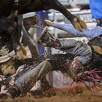 J.T. Moore is thrown from his bull during the CBR Bullriding event Wednesday in Window Rock.