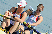 Munich, GERMANY,  Friday morning heats, GBR W2-. Bow Helen GLOVER and Heather STANNING.  2012 FISA World Cup III on the Munich Olympic Rowing Course,  Friday   15/06/2012. [Mandatory Credit Peter Spurrier/ Intersport Images]