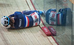 March 2, 2019 - Pruszkow, Poland - Pascale Jeuland of France on the ground after getting injured during in the Women's Madison on day four of the UCI Track Cycling World Championships held in the BGZ BNP Paribas Velodrome Arena on March 02 2019 in Pruszkow, Poland. (Credit Image: © Foto Olimpik/NurPhoto via ZUMA Press)
