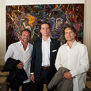 """Ray Parish  (L)  Patrick Marinoff (CEO Maybach) (C)  and Artist Vahakn Arslanian (R) at the press preview of Julian Schnabel - """"Permanently Becoming And The Architecture Of Seeing"""" part of 54th International Art Biennale in Venice"""