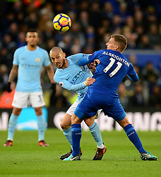 David Silva of Manchester City in action with Marc Albrighton of Leicester City - Mandatory by-line: Alex James/JMP - 18/11/2017 - FOOTBALL - King Power Stadium - Leicester, England - Leicester City v Manchester City - Premier League