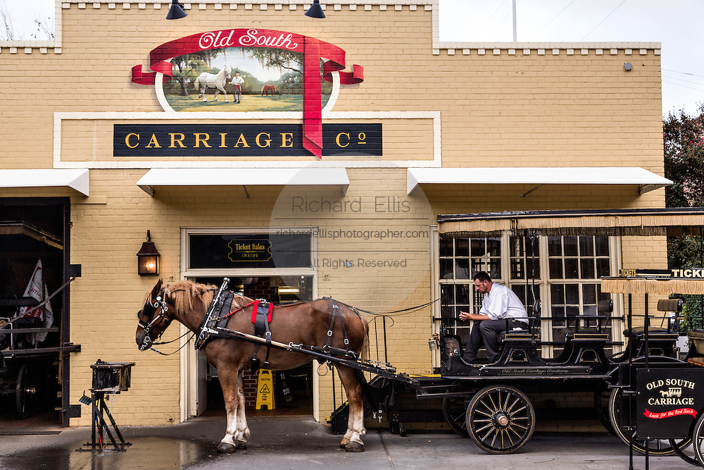 A sightseeing carriage driver waits with his horse outside the Old South Carriage barn in historic Charleston, SC.