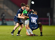 Sale Sharks Valery Morozov and flanker Ben Curry tackle Harlequins flanker Chris Robshaw during a Gallagher Premiership match won by Sale Sharks 27-17 at the AJ Bell Stadium, Eccles, Greater Manchester, United Kingdom, Friday, April 5, 2019. (Steve Flynn/Image of Sport)