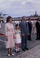 President Jim Carter arrives at the  Caracas, Venezuela airport on March 28, 1978. First Lady Rosalynn  Carter and daughter Amy are with President Carter<br /> Photo by Dennis Brack