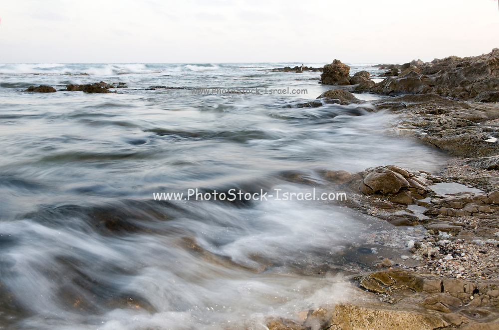 Rocks and sand on the seabed photographed in Israel
