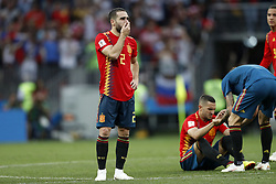 Daniel Carvajal of Spain during the 2018 FIFA World Cup Russia round of 16 match between Spain and Russia at the Luzhniki Stadium on July 01, 2018 in Moscow, Russia