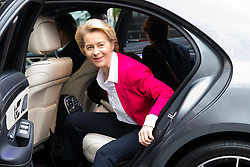 © Licensed to London News Pictures. 08/01/2020. London, UK. EU Commission President, Ursula von der Leyen arrives at the London School of Economics (LSE) to deliver a speech about building a future for the EU-UK partnership after Brexit. Photo credit: Vickie Flores/LNP