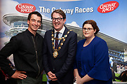 25/09/2018 Repro free: National Hunt jockey Patrick Mullins, mayor of Galway Niall McNelis  and General Manager House Hotel at the launch of Galway Racecourse  details of their new and exciting three-day October Festival that takes place over the Bank Holiday weekend, Saturday 27th, Sunday 28th and Monday 29th continuing racing and glamour into the Autumn.<br />   Each of the three race days offers something for all the family to enjoy, with a special theme attached to each day, together with fantastic horse racing, live music, delicious hospitality, entertainment and of course the meeting of old friends and new at Ballybrit.  <br /> Halloween Family Fun <br /> On Saturday 27th October come along with your children and grand children and enjoy the 'Spooktacular' Halloween themed family fun day with lots of entertainment including a fancy-dress competition, Halloween games and face painting to mention but a few!! All weekend children under 16 years of age have free admission. <br /> Race in Pink <br /> As part of this new October Festival and with-it being Breast Cancer Awareness month, Galway Racecourse have partnered with The National Breast Cancer Research Institute to host a dedicated fundraiser on Sunday 28th October called 'Race in Pink'.  <br /> <br /> Student Race Day in aid of the Voluntary Services Abroad <br /> Monday sees the return of our annual 'Student Race Day' in conjunction with the Voluntary Services Abroad (a medical aid charity run by the fourth-year medical students of NUI, Galway), and the NUIG Rugby Club.  Each year, this fundraising day for the student organisations raises a tremendous amount of money for their chosen projects including the VSA annual summer volunteer trip to Africa where they use the funds raised to help projects at the hospitals they visit. <br />  National hunt racing on Saturday kicks off at 2.05pm with racing Sunday and Monday off at 1.05pm. Adult admission on all three days is €15 with children under 16 years of age, fr