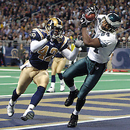 Philadelphia wide receiver Freddie Mitchell (84) makes a touchdown catch against the St. Louis Rams at the Edward Jones Dome in St. Louis, Missouir on December 27, 2004.