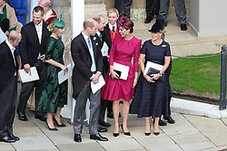 The Duke and Duchess of Cambridge outside St George's Chapel in Windsor Castle, following the wedding of Princess Eugenie to Jack Brooksbank.