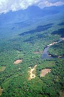 Río en  la selva amazónica con vivienda indígena, Amazonas, Venezuela.